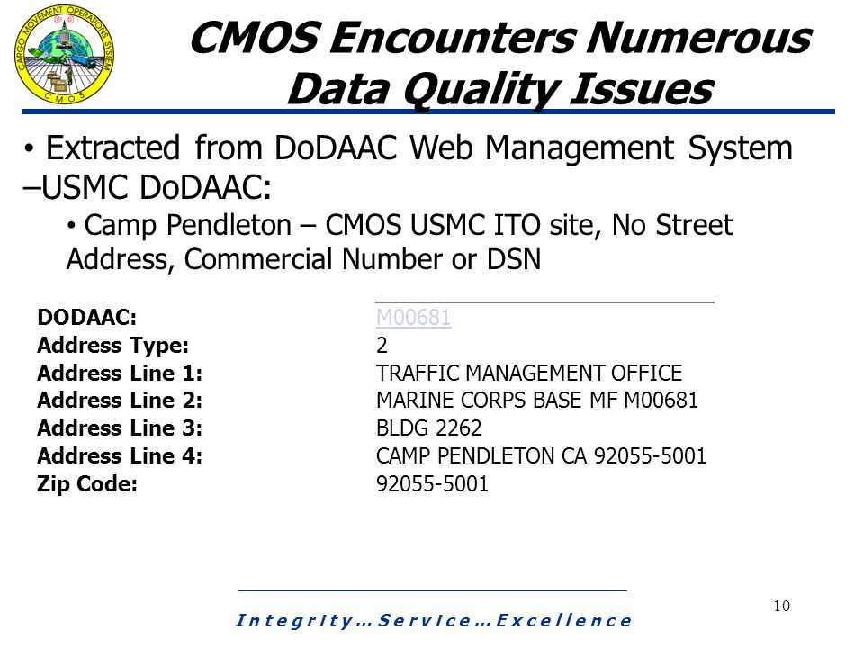 I n t e g r i t y … S e r v i c e … E x c e l l e n c e 10 CMOS Encounters Numerous Data Quality Issues Extracted from DoDAAC Web Management System –USMC DoDAAC: Camp Pendleton – CMOS USMC ITO site, No Street Address, Commercial Number or DSN DODAAC: M00681 Address Type: 2 Address Line 1: TRAFFIC MANAGEMENT OFFICE Address Line 2: MARINE CORPS BASE MF M00681 Address Line 3: BLDG 2262 Address Line 4: CAMP PENDLETON CA 92055-5001 Zip Code: 92055-5001