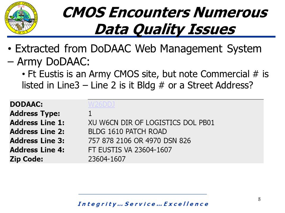 I n t e g r i t y … S e r v i c e … E x c e l l e n c e 8 CMOS Encounters Numerous Data Quality Issues Extracted from DoDAAC Web Management System – Army DoDAAC: Ft Eustis is an Army CMOS site, but note Commercial # is listed in Line3 – Line 2 is it Bldg # or a Street Address.