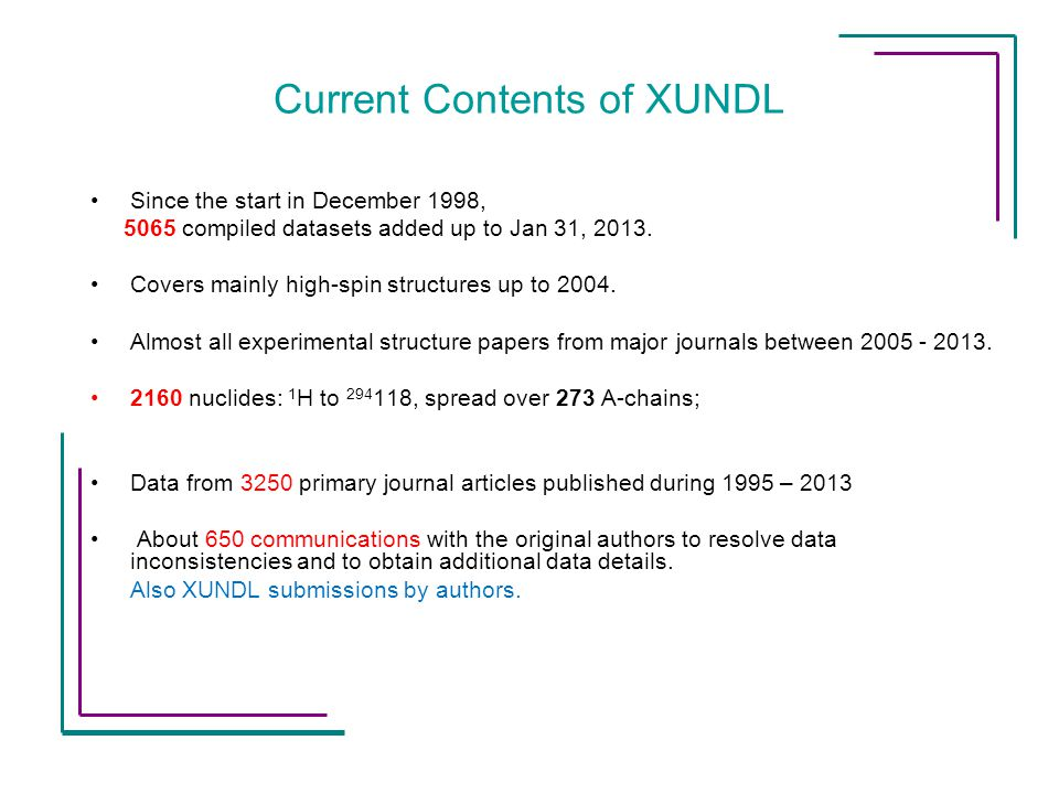 Current Contents of XUNDL Since the start in December 1998, 5065 compiled datasets added up to Jan 31, 2013.