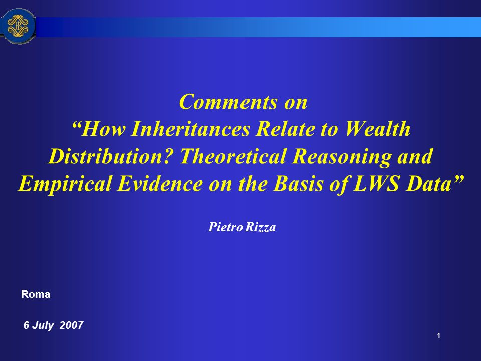 1 Comments on How Inheritances Relate to Wealth Distribution.