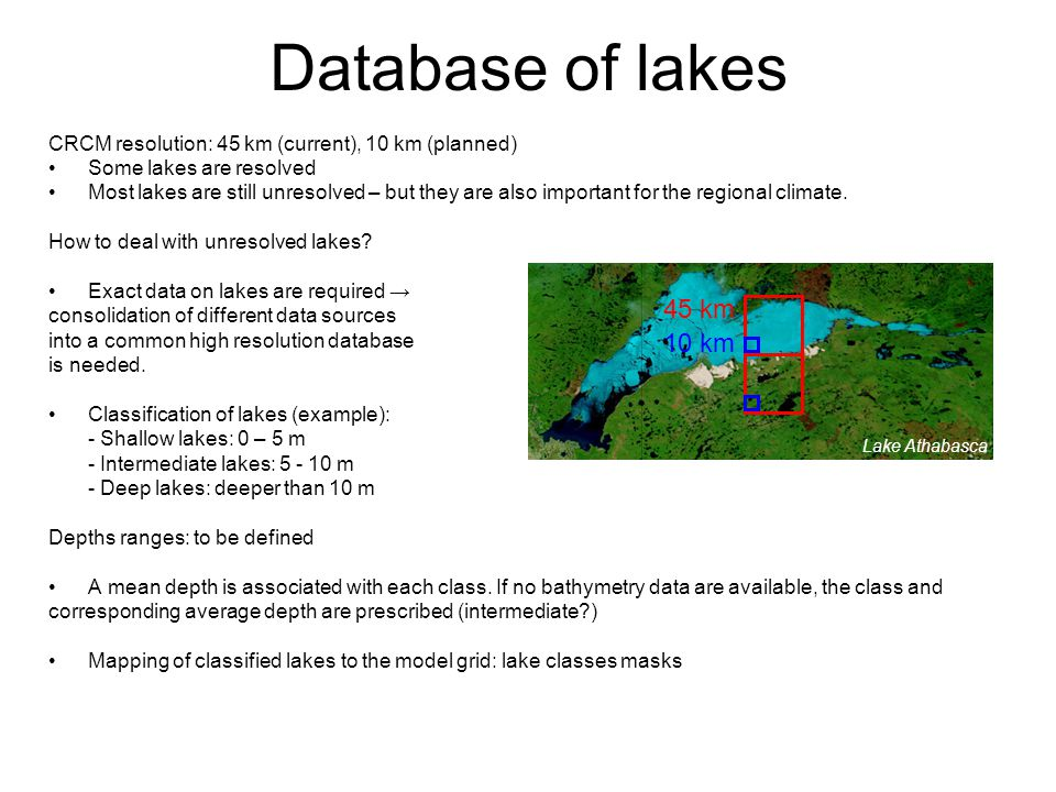 CRCM resolution: 45 km (current), 10 km (planned) Some lakes are resolved Most lakes are still unresolved – but they are also important for the regional climate.