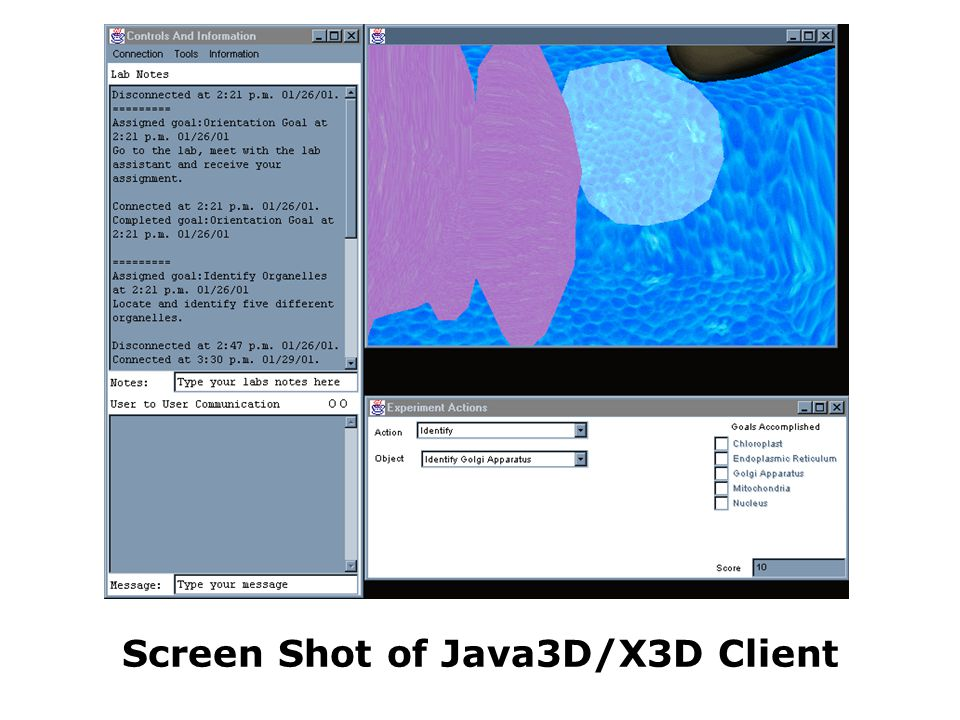 Screen Shot of Java3D/X3D Client