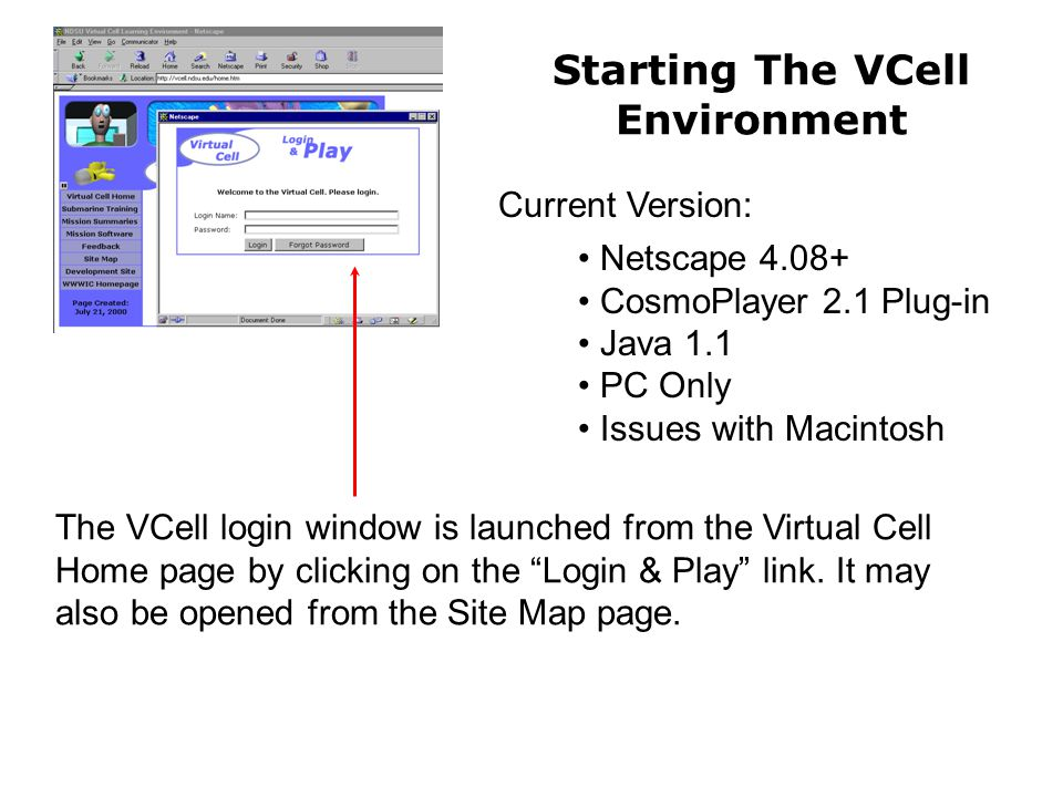 The VCell login window is launched from the Virtual Cell Home page by clicking on the Login & Play link.