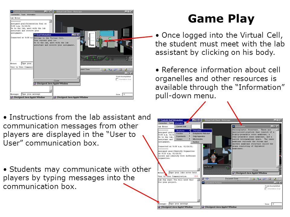 Instructions from the lab assistant and communication messages from other players are displayed in the User to User communication box.