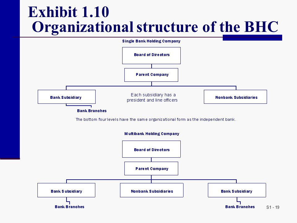 S1 - 19 Exhibit 1.10 Organizational structure of the BHC