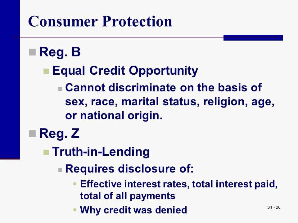 S1 - 26 Consumer Protection Reg.