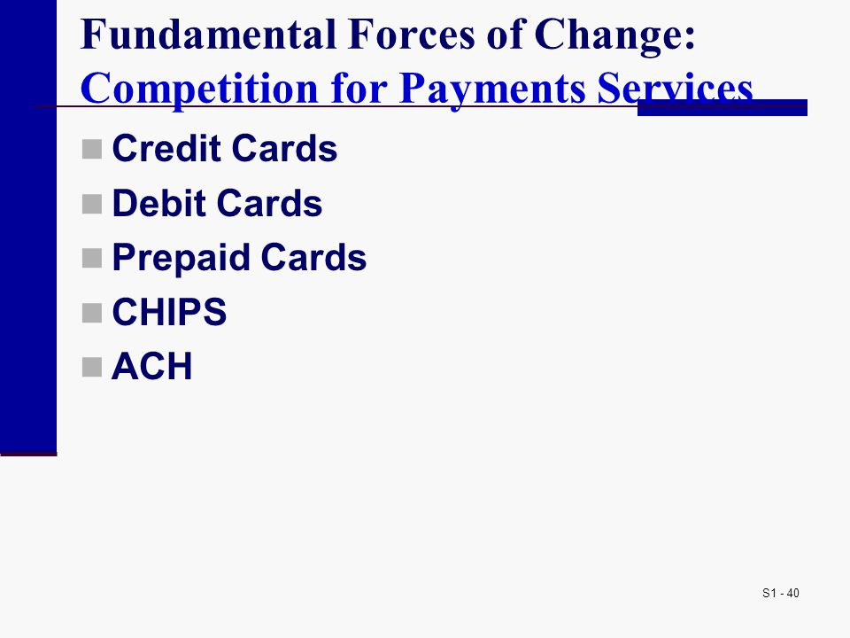 S1 - 40 Fundamental Forces of Change: Competition for Payments Services Credit Cards Debit Cards Prepaid Cards CHIPS ACH