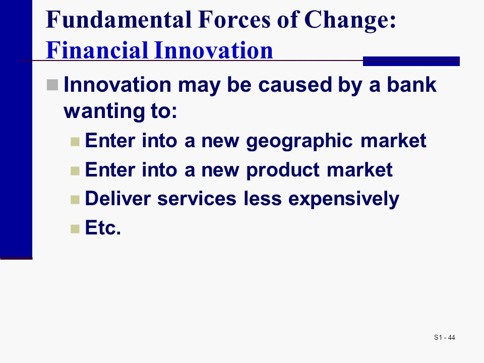 S1 - 44 Fundamental Forces of Change: Financial Innovation Innovation may be caused by a bank wanting to: Enter into a new geographic market Enter into a new product market Deliver services less expensively Etc.