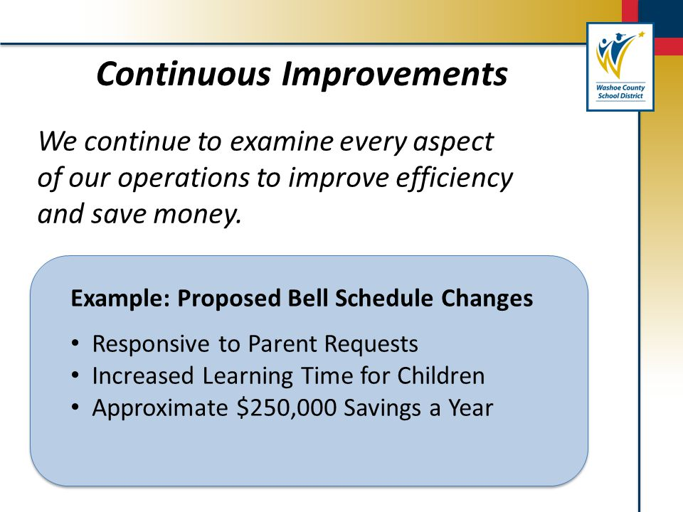 We continue to examine every aspect of our operations to improve efficiency and save money. Continuous Improvements Example: Proposed Bell Schedule Ch
