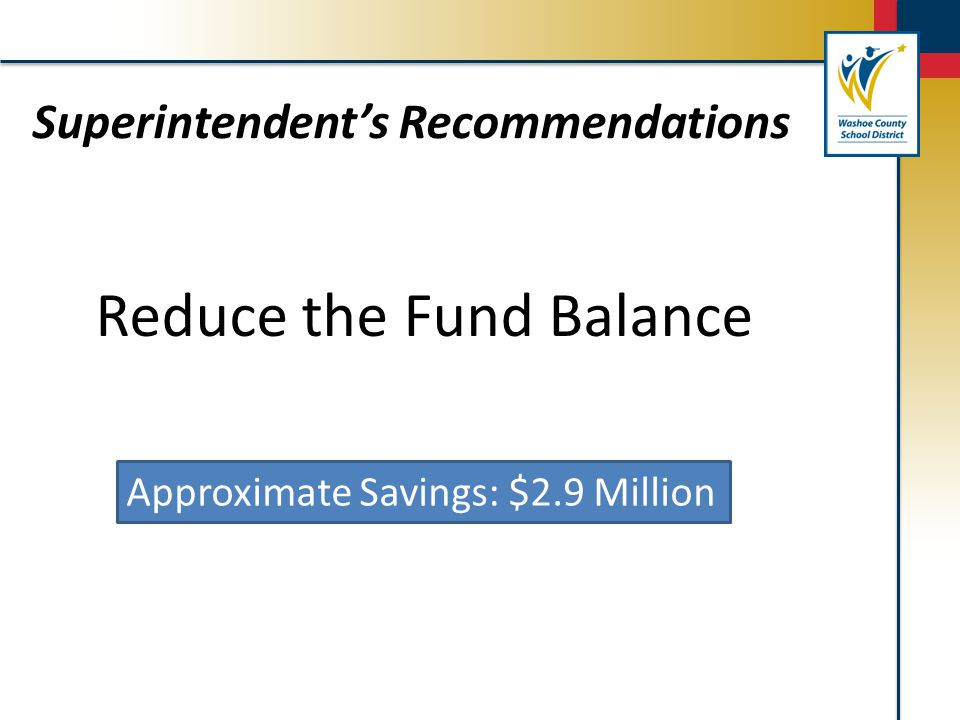Superintendent's Recommendations Reduce the Fund Balance Approximate Savings: $2.9 Million
