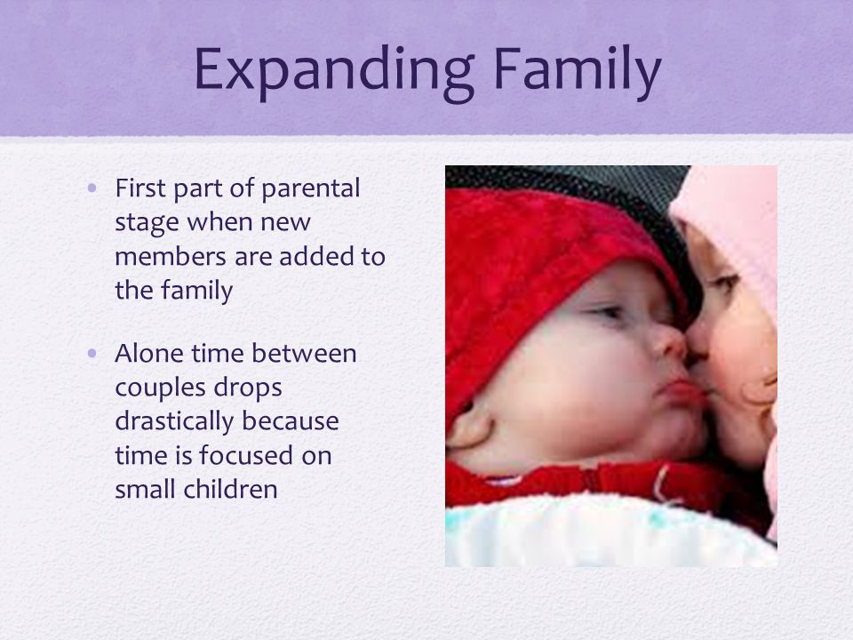 Expanding Family First part of parental stage when new members are added to the family Alone time between couples drops drastically because time is focused on small children