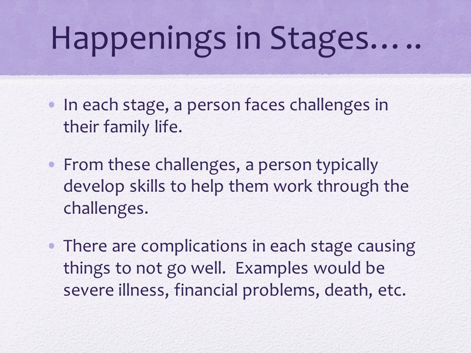 Happenings in Stages…..In each stage, a person faces challenges in their family life.