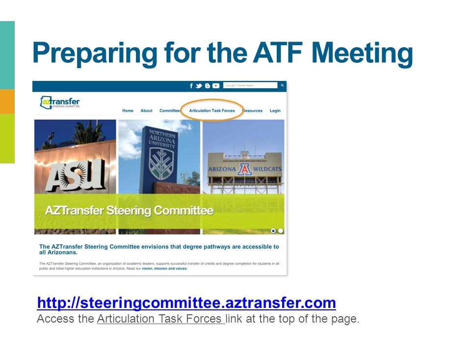 Preparing for the ATF Meeting http://steeringcommittee.aztransfer.com Access the Articulation Task Forces link at the top of the page.