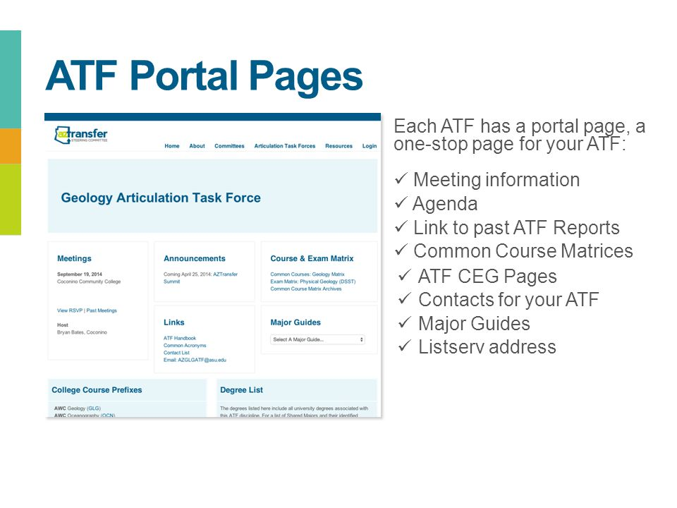 Each ATF has a portal page, a one-stop page for your ATF: Meeting information Agenda Link to past ATF Reports Common Course Matrices ATF CEG Pages Con