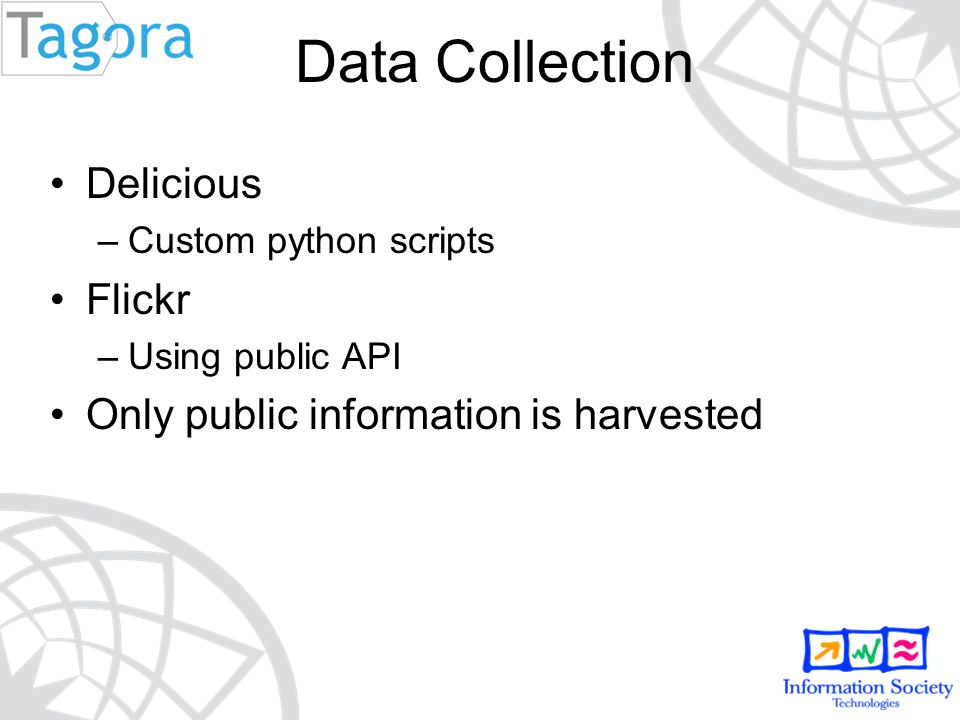 Delicious –Custom python scripts Flickr –Using public API Only public information is harvested Data Collection