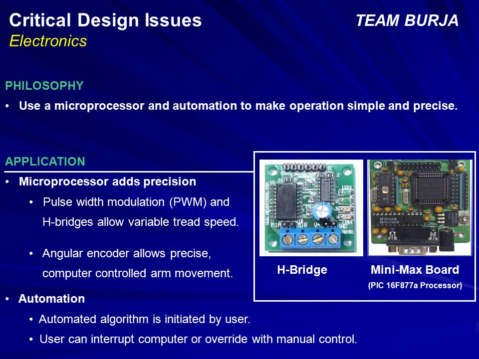 Critical Design Issues Electronics TEAM BURJA PHILOSOPHY Use a microprocessor and automation to make operation simple and precise.
