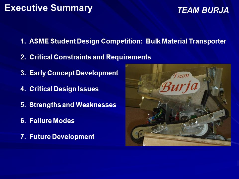 ASME Problem Description Objective TEAM BURJA Design a remote- controlled vehicle to navigate the stair course.
