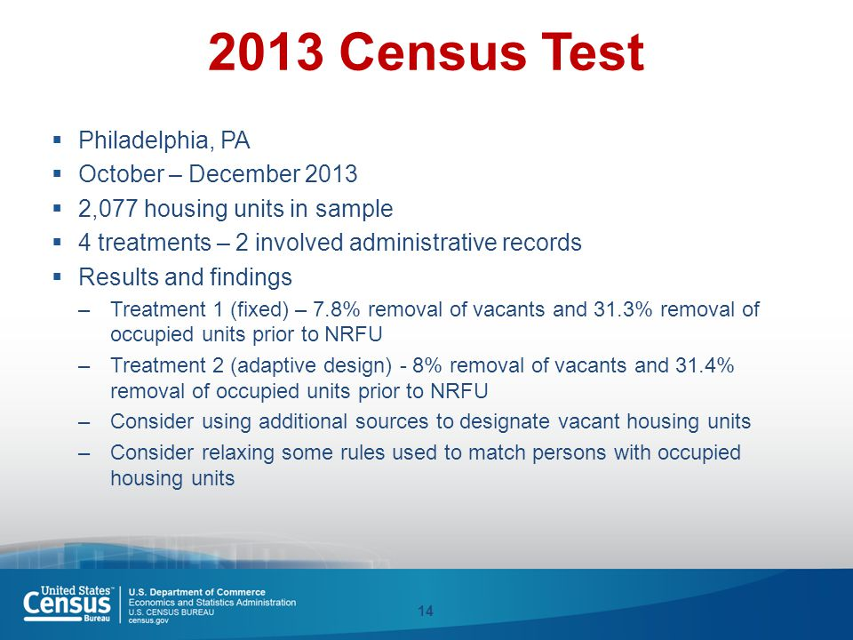 2013 Census Test  Philadelphia, PA  October – December 2013  2,077 housing units in sample  4 treatments – 2 involved administrative records  Res