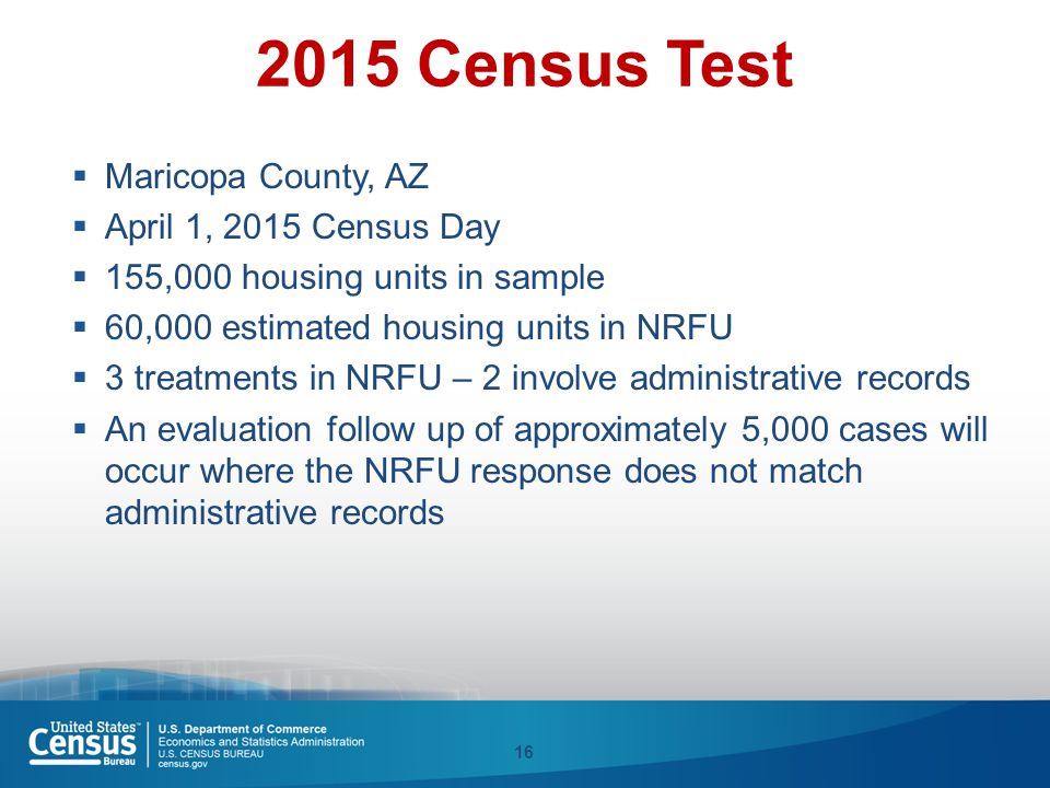 2015 Census Test  Maricopa County, AZ  April 1, 2015 Census Day  155,000 housing units in sample  60,000 estimated housing units in NRFU  3 treat