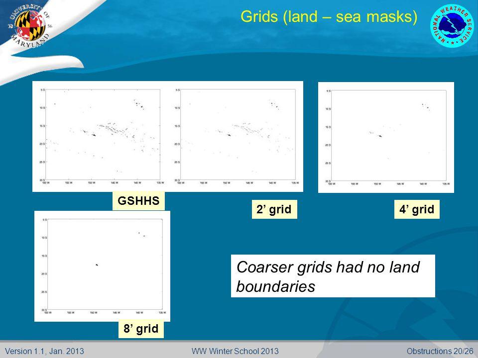 Version 1.1, Jan. 2013Obstructions 20/26WW Winter School 2013 GSHHS 2' grid4' grid 8' grid Grids (land – sea masks) Coarser grids had no land boundari