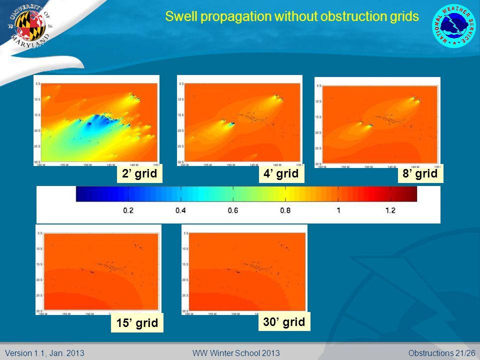 Version 1.1, Jan. 2013Obstructions 21/26WW Winter School 2013 2' grid4' grid8' grid 15' grid 30' grid Swell propagation without obstruction grids