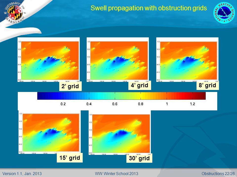 Version 1.1, Jan. 2013Obstructions 22/26WW Winter School 2013 2' grid 4' grid8' grid 15' grid 30' grid Swell propagation with obstruction grids