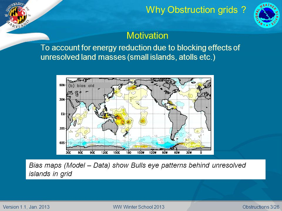 Version 1.1, Jan. 2013Obstructions 3/26WW Winter School 2013 Why Obstruction grids .