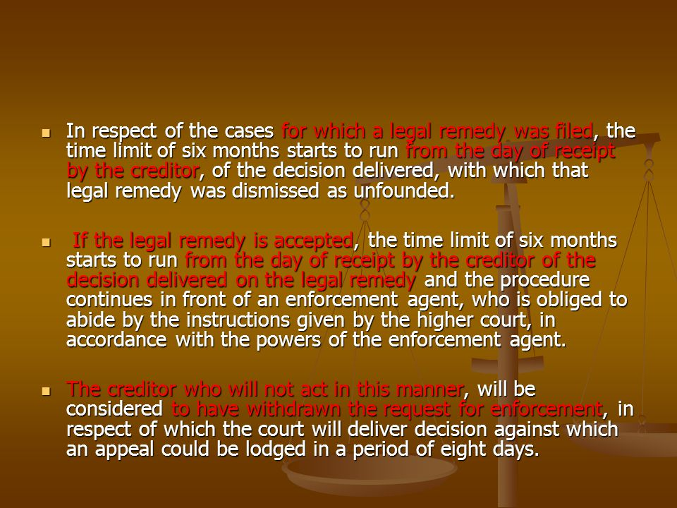 The court in front of which the appeal is lodged is obliged within a period of three days since the day of payment of the court tax, to deliver the case to the appellate court, which is required to adjudicate upon the appeal in a period of 15 days.