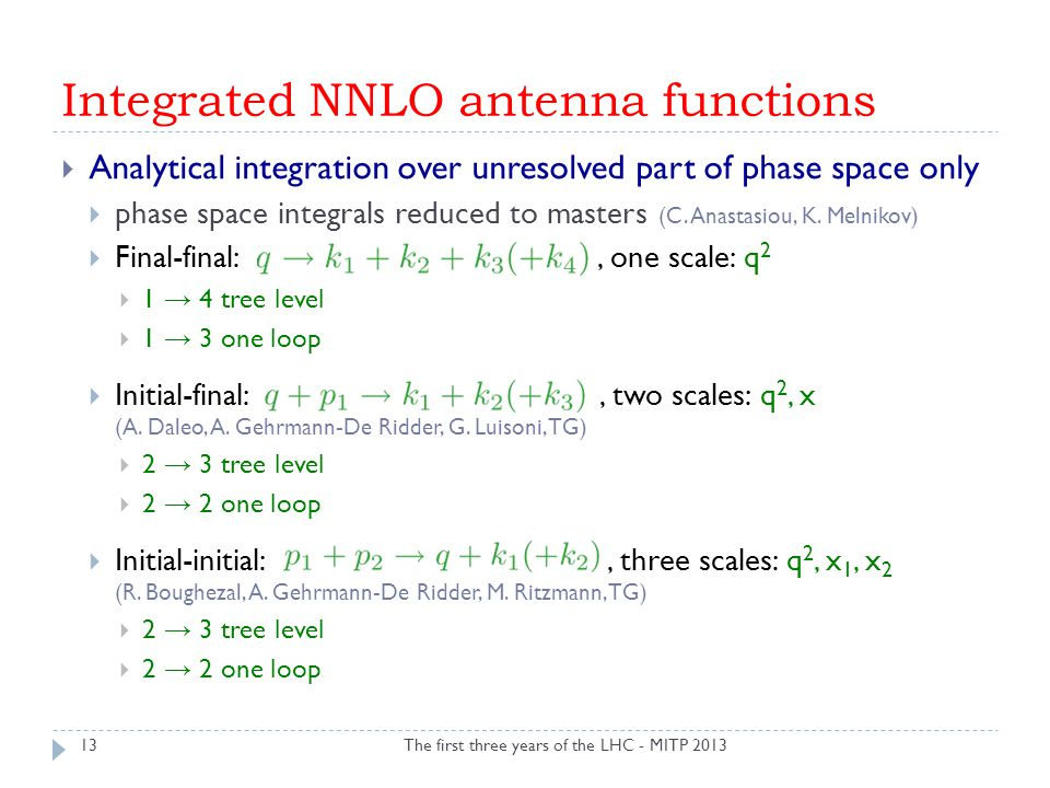 Integrated NNLO antenna functions The first three years of the LHC - MITP 2013  Analytical integration over unresolved part of phase space only  pha