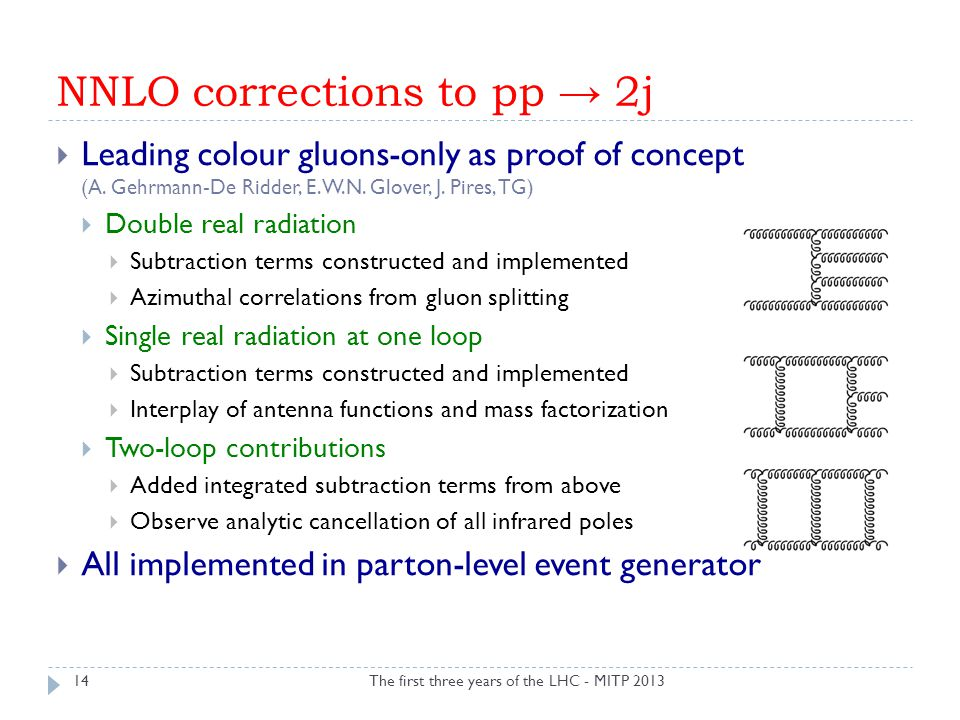 NNLO corrections to pp → 2j The first three years of the LHC - MITP 2013  Leading colour gluons-only as proof of concept (A. Gehrmann-De Ridder, E.W.