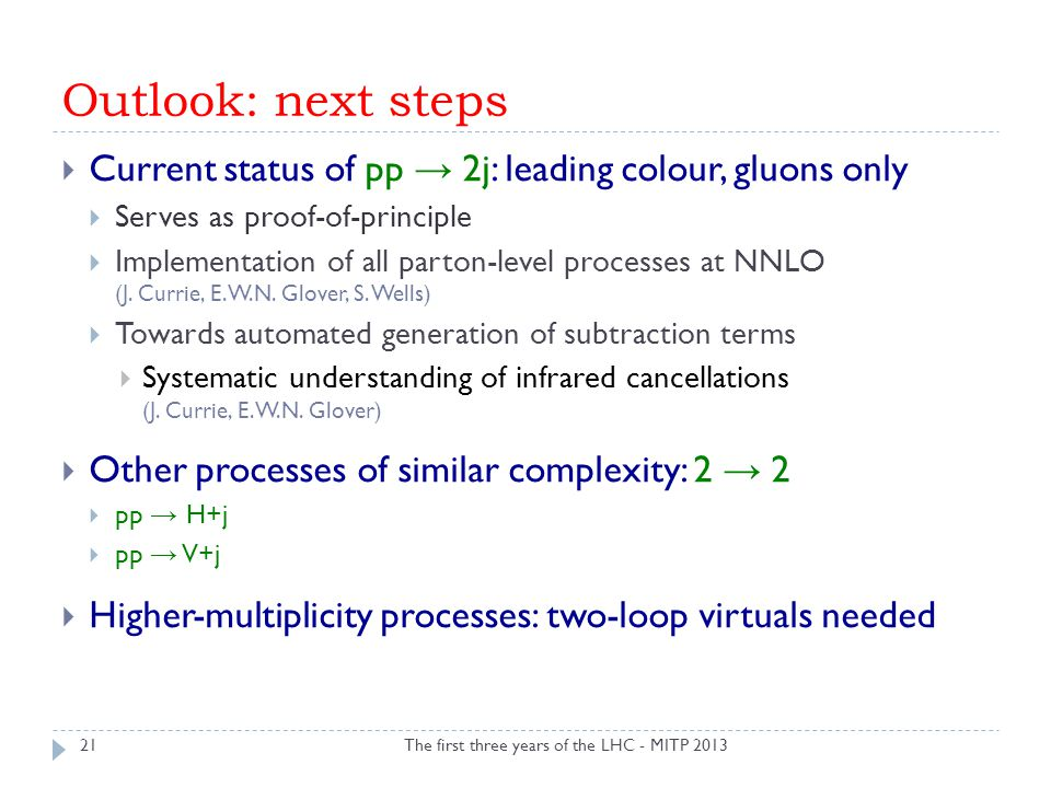 Outlook: next steps The first three years of the LHC - MITP 201321  Current status of pp → 2j: leading colour, gluons only  Serves as proof-of-princ