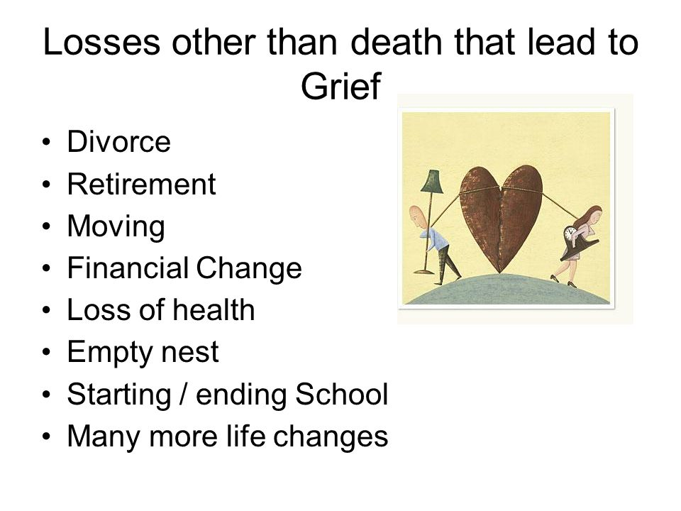Losses other than death that lead to Grief Divorce Retirement Moving Financial Change Loss of health Empty nest Starting / ending School Many more life changes