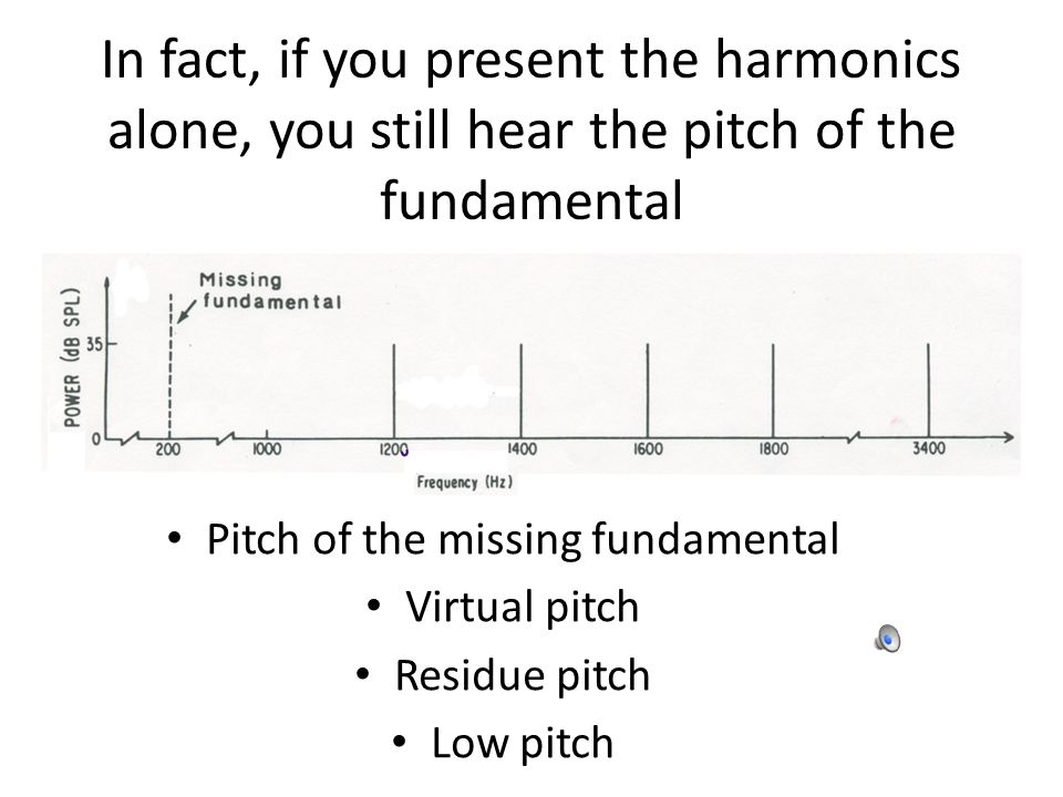 In fact, if you present the harmonics alone, you still hear the pitch of the fundamental Pitch of the missing fundamental Virtual pitch Residue pitch Low pitch