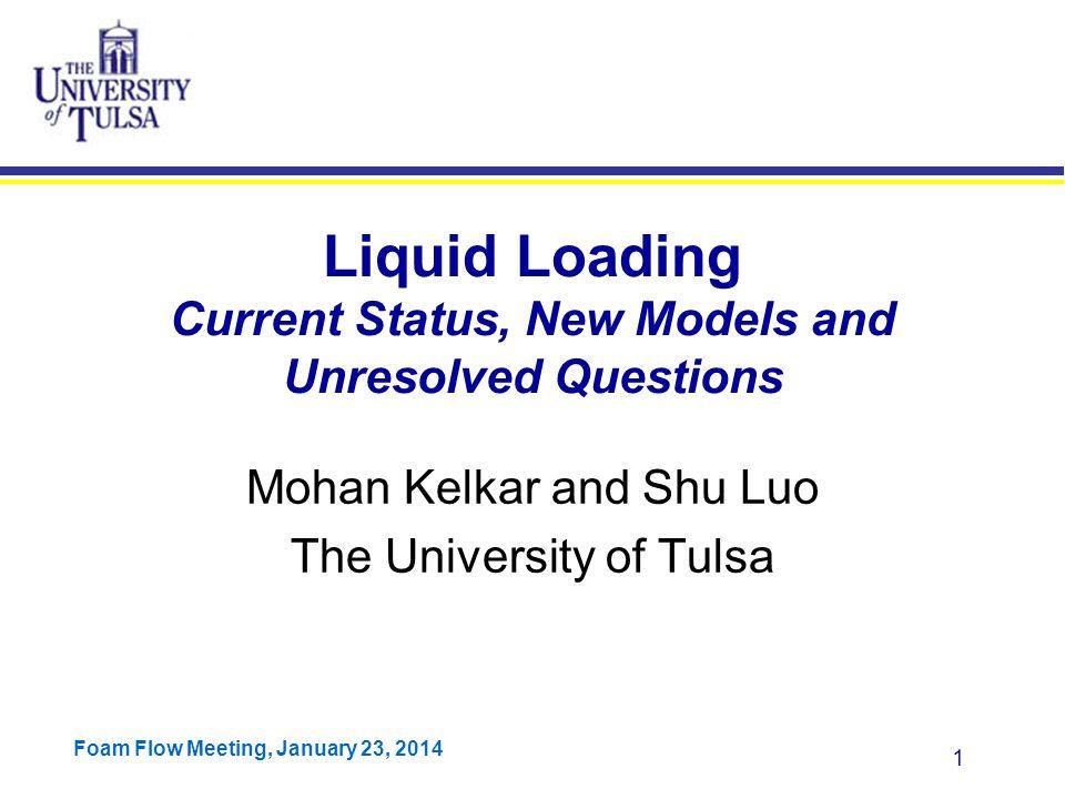 Foam Flow Meeting, January 23, 2014 2 Outline Definition of liquid loading Literature Survey Our Data Model Formulation Model Validation Program Demonstration Summary