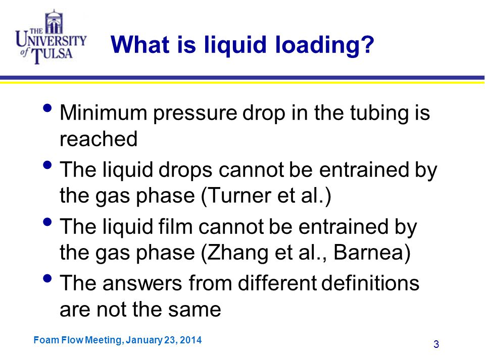 Foam Flow Meeting, January 23, 2014 4 Traditional Definition OPR IPR Transition Point Stable Unstable Liquid Loading