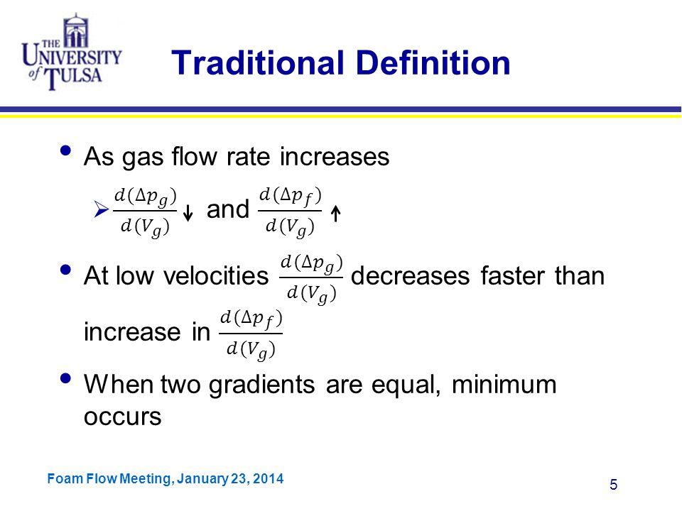 Foam Flow Meeting, January 23, 2014 26 dP/dz) G vs.