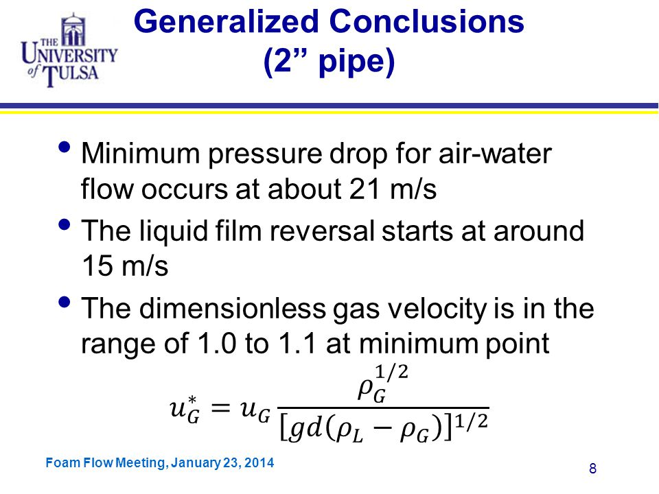 Foam Flow Meeting, January 23, 2014 39 Non-uniform Film Thickness Model Let A 1 =A 2, we can find this relationship.