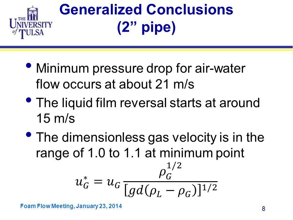 Foam Flow Meeting, January 23, 2014 29 Why diameter impacts.