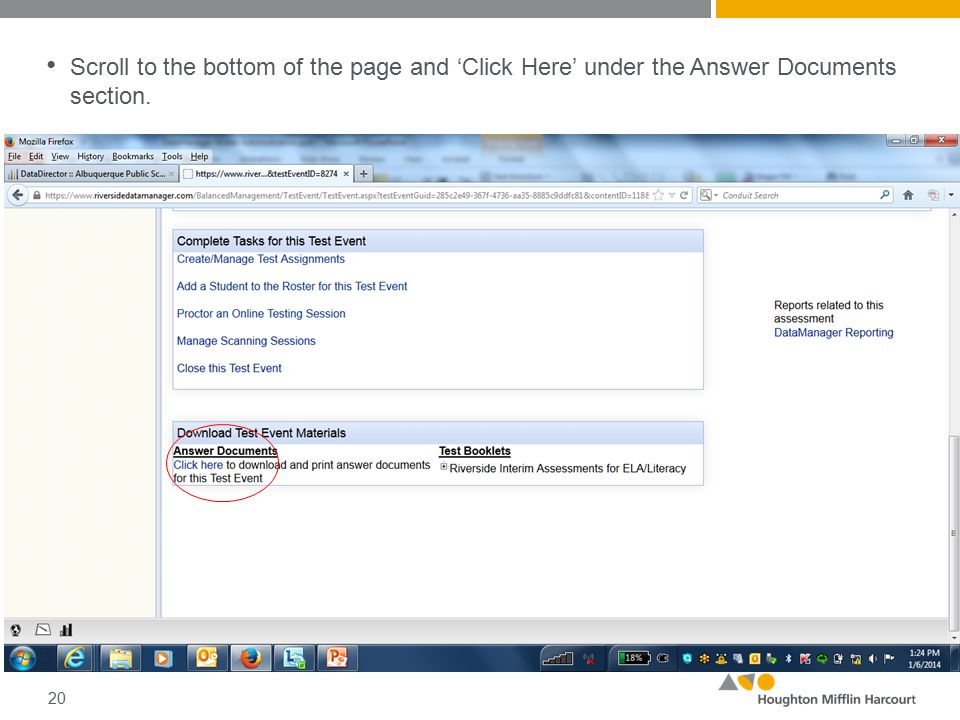 Scroll to the bottom of the page and 'Click Here' under the Answer Documents section. 20