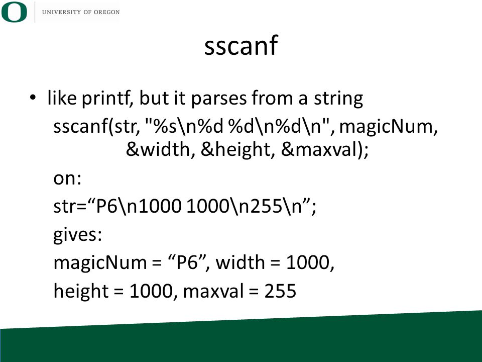 sscanf like printf, but it parses from a string sscanf(str,