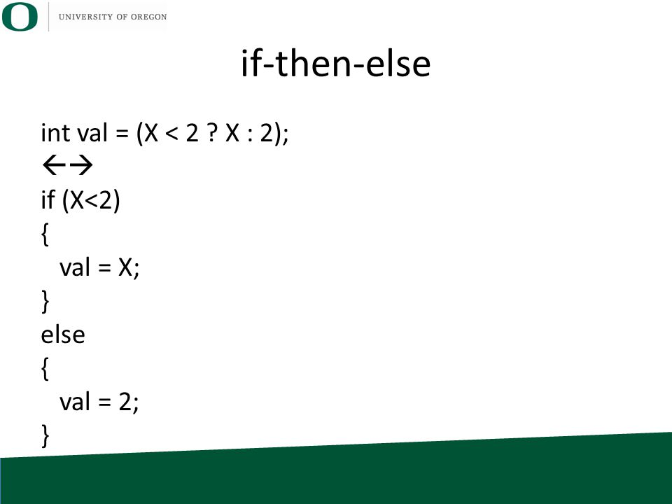 if-then-else int val = (X < 2 ? X : 2);  if (X<2) { val = X; } else { val = 2; }
