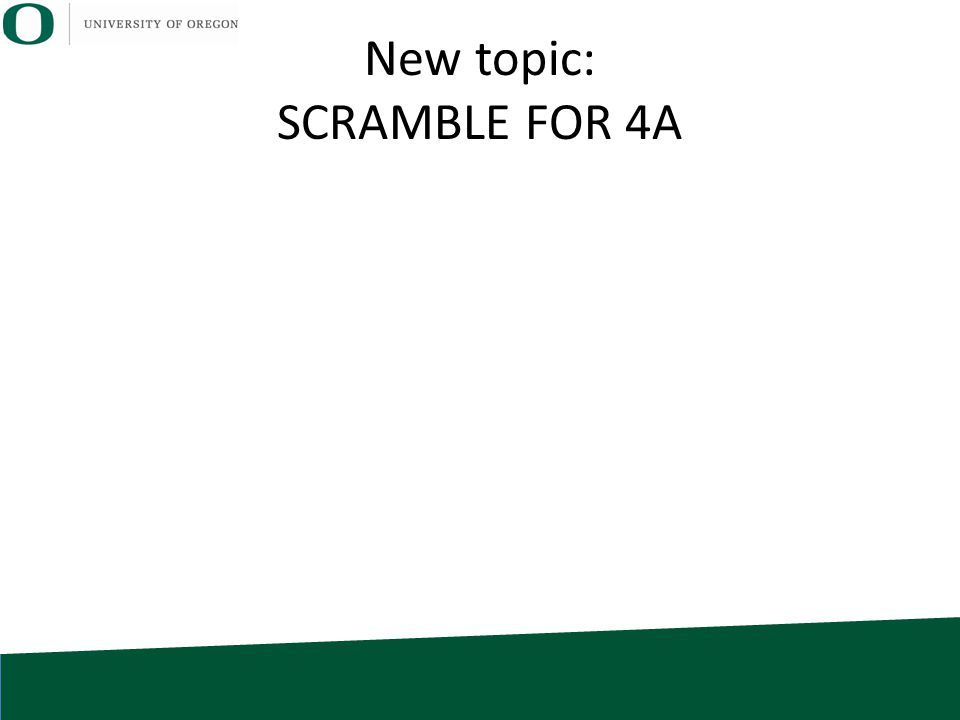 New topic: SCRAMBLE FOR 4A
