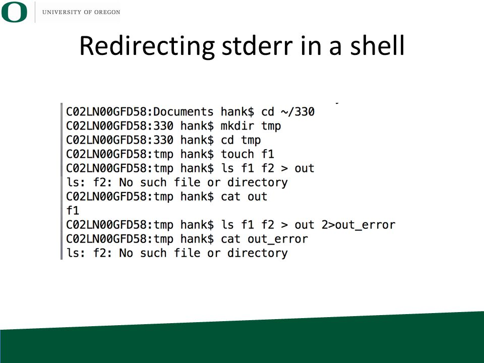 Redirecting stderr in a shell