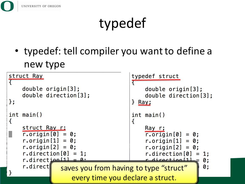 "typedef typedef: tell compiler you want to define a new type saves you from having to type ""struct"" every time you declare a struct."