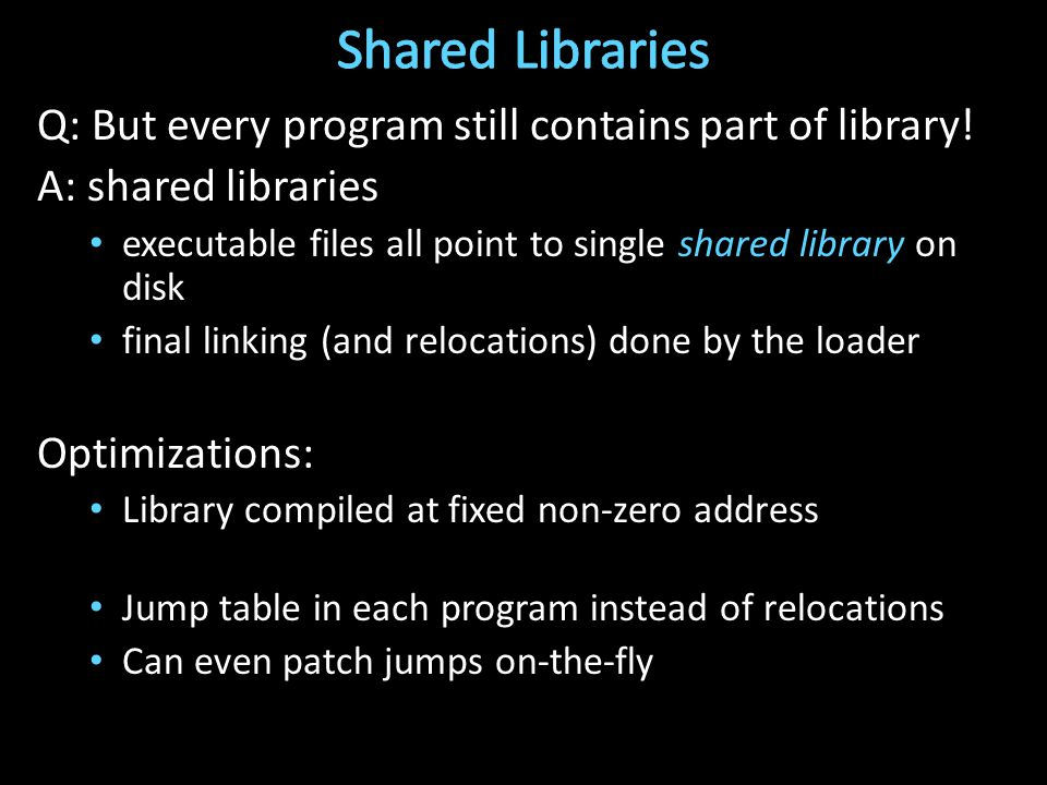 Q: But every program still contains part of library.