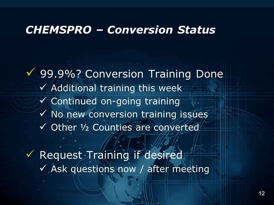 12 CHEMSPRO – Conversion Status 99.9%.
