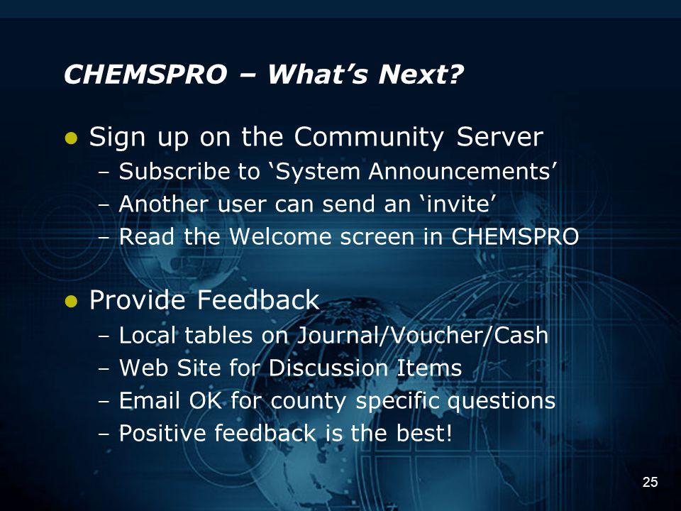 25 CHEMSPRO – What's Next.