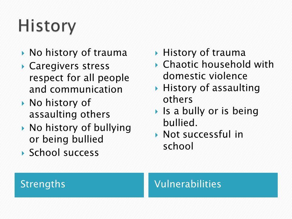  Attachment/trauma history  Awareness of Emotional & Environment Triggers  Parenting Attitudes and Competencies ◦ The child needs a loving home with nurturing, affection, routine, structure and boundaries.