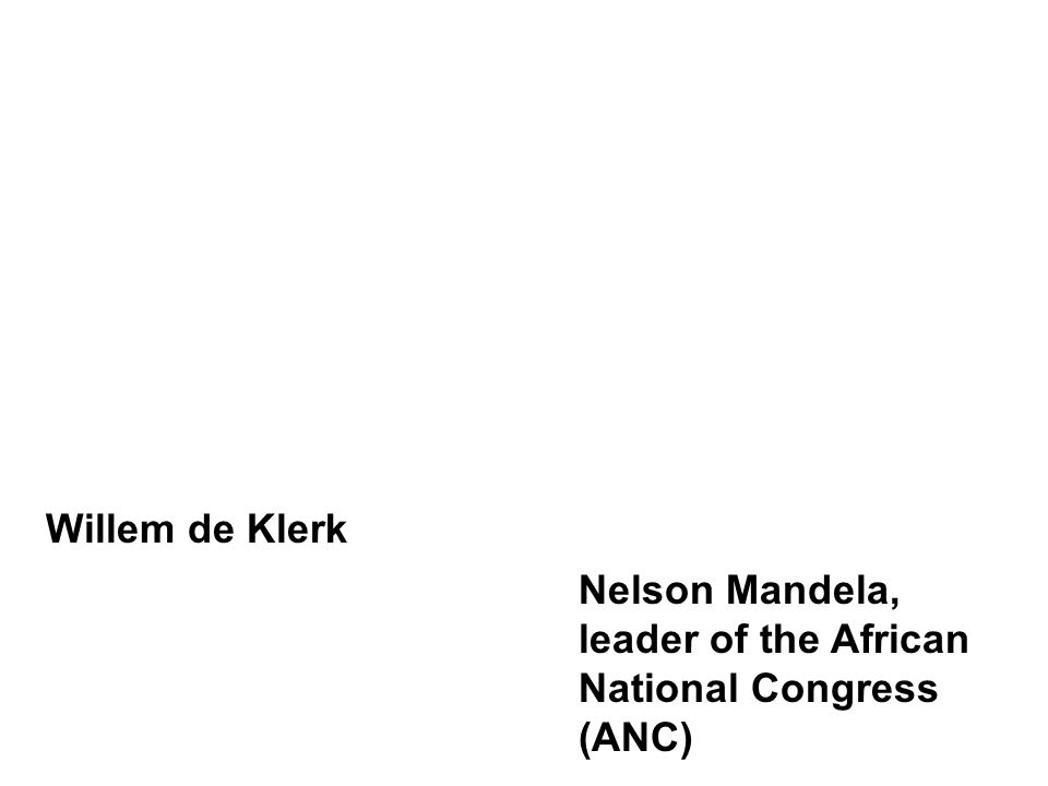 Willem de Klerk Nelson Mandela, leader of the African National Congress (ANC)