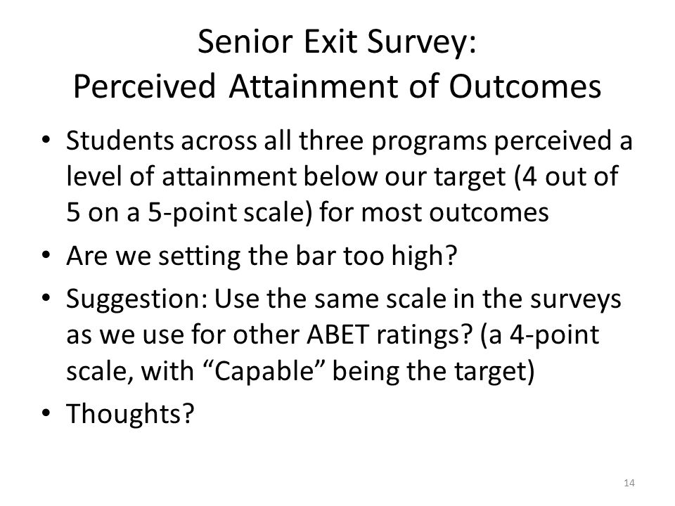 Senior Exit Survey: Perceived Attainment of Outcomes Students across all three programs perceived a level of attainment below our target (4 out of 5 on a 5-point scale) for most outcomes Are we setting the bar too high.